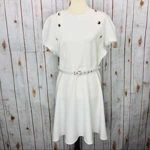 Sharagano White Gold Belted Cap Sleeve Dress
